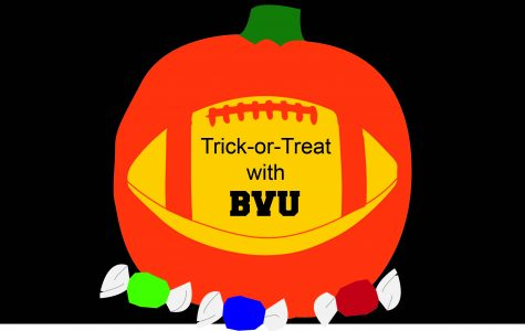 BVU football trick-or-treats with Storm Lake children