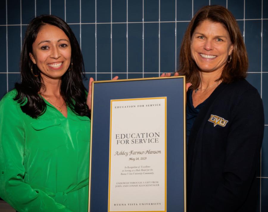 Dr. Ashley Farmer-Hanson, left. Dr. Lucy Shaffer Croft, right. Presenting Education for Service Award May 2019.