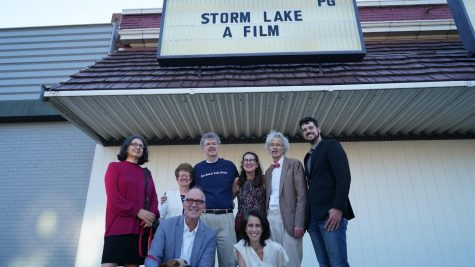 Cast and crew outside the Vista 3 Theatre at the premiere of Storm Lake. (PBS)