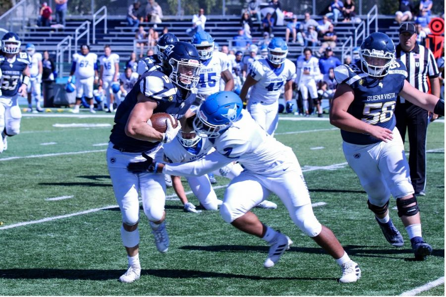 Buena Vista University Wide Receiver ERIC PACHECO breaks a tackle against Luther College.